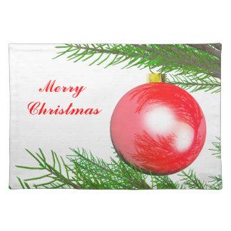Feliz decoración del árbol de navidad manteles individuales