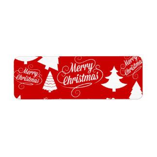 Feliz día de fiesta del reno de Santa de los árbol Etiqueta De Remite