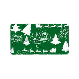 Feliz día de fiesta del reno de Santa de los árbol Etiquetas De Dirección