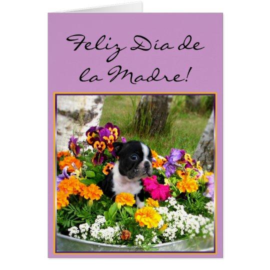 Feliz dia de la Madre Boston Terrier greeting card