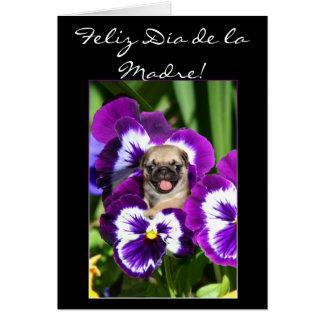 Feliz dia de la Madre Pug Greeting card