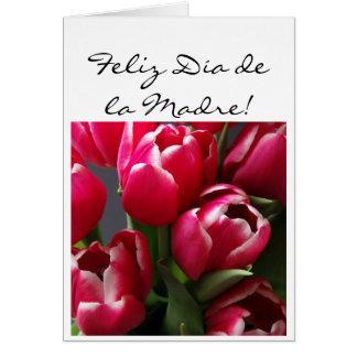 Feliz dia de la Madre Red Tulips card