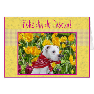 Feliz dia de Pascua Boxer puppy greeting card