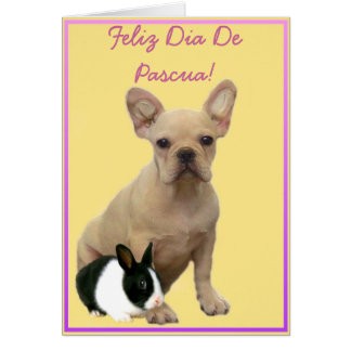 Feliz dia de Pascua French bulldog Greeting Card
