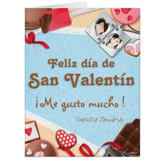 ¡Feliz día de San Valentín ¡Me gusto mucho! Tarjeta De Felicitación Grande