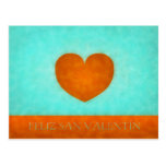 Feliz día de San Valentín. Postal Corazón Naranja.