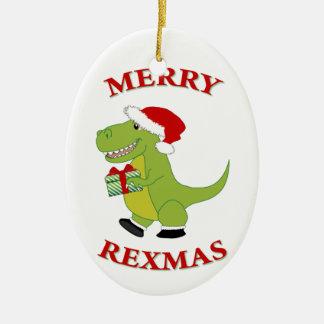 Feliz diseño del dinosaurio de Rexmas T-Res Adorno Navideño Ovalado De Cerámica