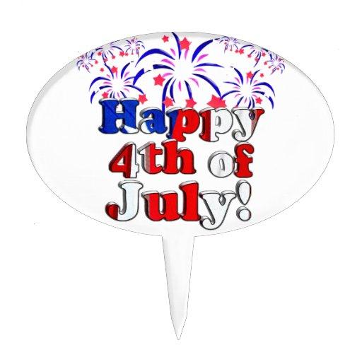 Feliz el 4 de julio con los fuegos artificiales decoración de tarta
