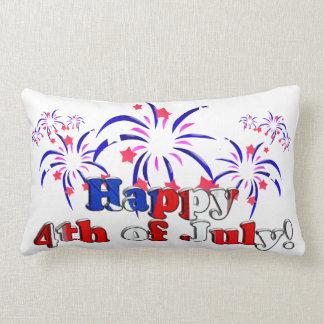 Feliz el 4 de julio con los fuegos artificiales almohadas