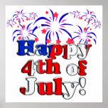 Feliz el 4 de julio con los fuegos artificiales posters
