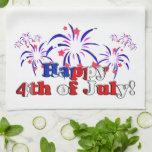 Feliz el 4 de julio con los fuegos artificiales toallas de mano