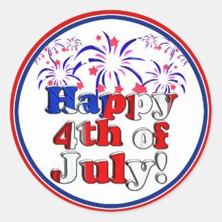 Feliz el 4 de julio con los fuegos artificiales pegatina redonda