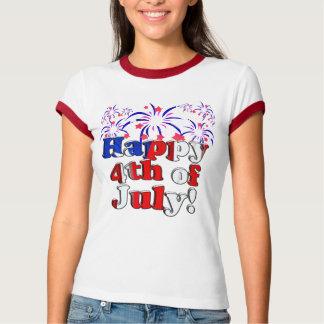 Feliz el 4 de julio con los fuegos artificiales remera
