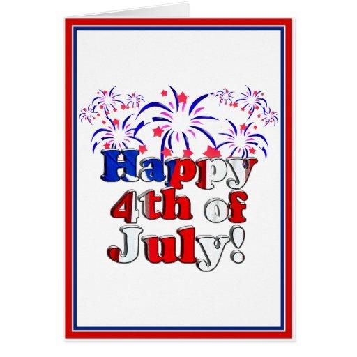 Feliz el 4 de julio con los fuegos artificiales tarjetón