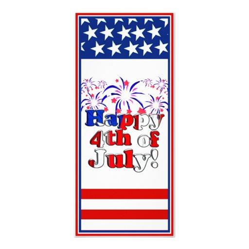 Feliz el 4 de julio con los fuegos artificiales tarjeta publicitaria a todo color