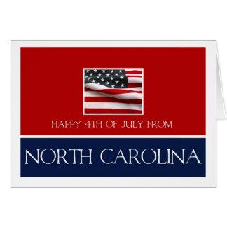 feliz el 4 de julio de Carolina del Norte Tarjeta De Felicitación