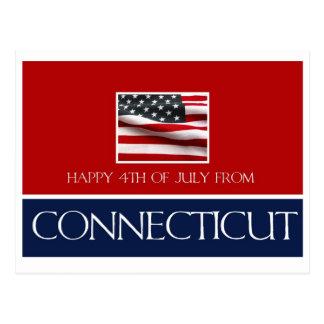 feliz el 4 de julio de Connecticut Tarjetas Postales