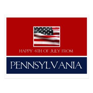 feliz el 4 de julio de Pennsylvania Postales