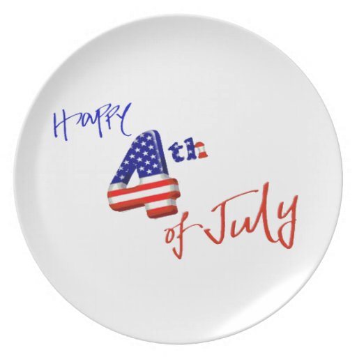 Feliz el 4 de julio, Día de la Independencia feliz Platos