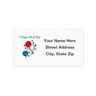 Feliz el 4 de julio etiqueta de dirección