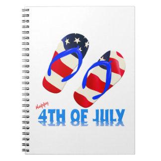 Feliz el 4 de julio - flip-flop spiral notebook