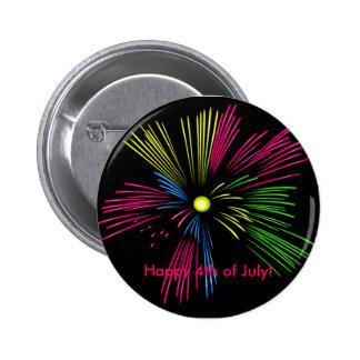 ¡Feliz el 4 de julio! Fuegos artificiales Pin Redondo De 2 Pulgadas