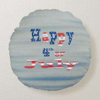 Feliz el 4 de julio patriótico cojín redondo