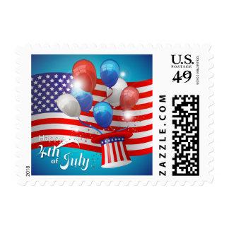 Feliz el 4 de julio patriótico timbre postal