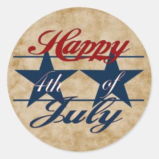 Feliz el 4 de julio pegatina redonda
