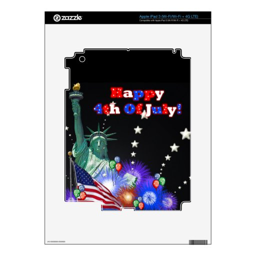 Feliz el 4 de julio pegatinas skins para iPad 3