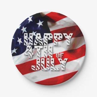 Feliz el 4 de julio - placas de papel patrióticas plato de papel de 7 pulgadas