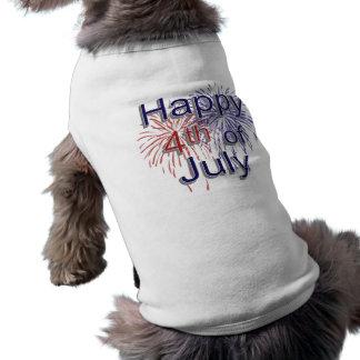 Feliz el 4 de julio playera sin mangas para perro