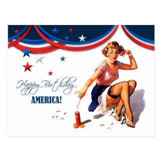 Feliz el 4 de julio. Postales del diseño del Pin-p