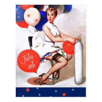 Feliz el 4 de julio Postales del diseño del Pin-p