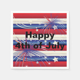 Feliz el 4 de julio servilleta de papel
