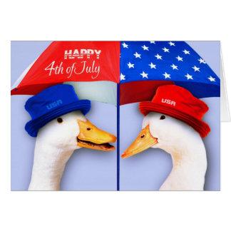 Feliz el 4 de julio. Tarjetas divertidas del