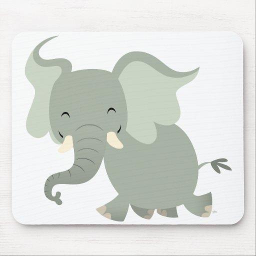 Feliz elefante lindo Mousepad del dibujo animado Tapetes De Ratón