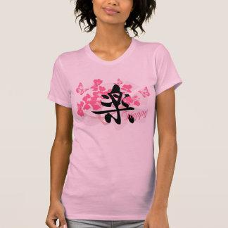 Feliz en camiseta de las señoras del kanji
