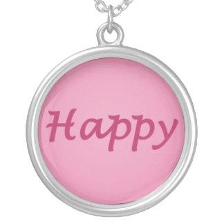Feliz en texto rosado colgante redondo