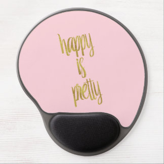 Feliz es el falso rosa del brillo de la hoja de alfombrilla de ratón con gel