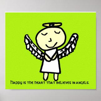 Feliz es el poster del ángel del corazón