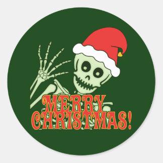 Feliz esqueleto de Navidad Pegatina