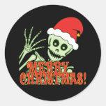 Feliz esqueleto de Navidad Pegatina Redonda