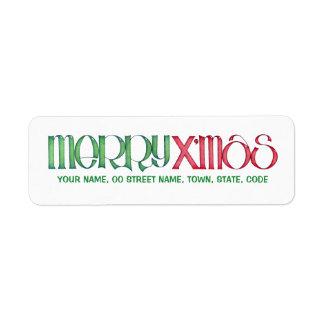 Feliz etiqueta verde del remite de X mas Etiqueta De Remite
