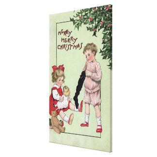 Feliz feliz ChristmasKids con los juguetes por el  Impresiones En Lienzo Estiradas