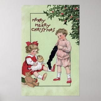 Feliz feliz ChristmasKids con los juguetes por el  Impresiones