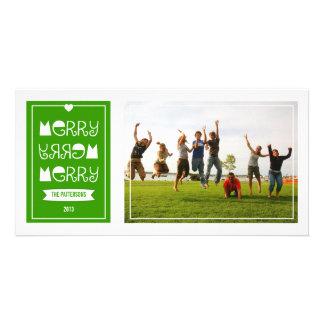 Feliz feliz tarjeta verde moderna de la foto del n tarjetas fotograficas