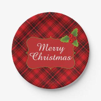 Feliz fiesta de Navidad de la tela escocesa roja Plato De Papel De 7 Pulgadas