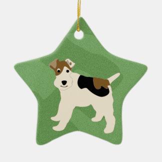 Feliz fox terrier del alambre de Navidad Adorno