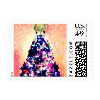 Feliz franqueo divertido del calamar del árbol de sello postal
